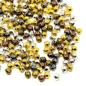 Mixed-Colour Tibetan Zinc Faceted Oval Beads 3mm x 4mm Pack Of 70+ HA15550