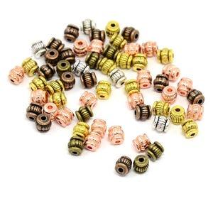 Mixed-Colour Tibetan Zinc Barrel Spacer Beads 5mm Pack Of 25+ HA15665
