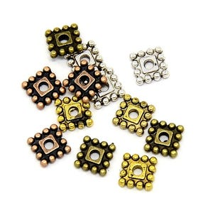 Mixed-Colour Tibetan Zinc Square Spacer Beads 7mm Pack Of 25+ HA15675