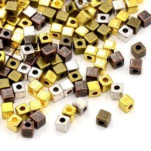 Mixed-Colour Tibetan Zinc Cube Spacer Beads 4mm Pack Of 25+ HA15685