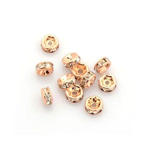 Rose Gold Rhinestone Brass Rondelle Spacer Beads 3mm x 6mm Pack Of 10 HA15775
