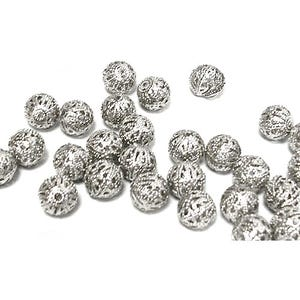 Antique Silver Brass Filigree Spacer Beads 10mm Pack Of 20 HA15800