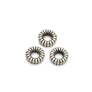 Antique Silver Tibetan Zinc Donut Spacer Beads 5mm Pack Of 30 HA15820