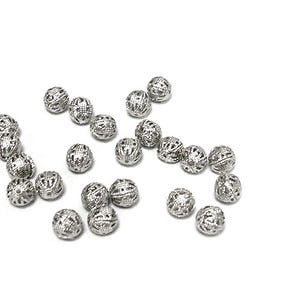 Antique Silver Brass Filigree Spacer Beads 8mm Pack Of 20 HA15910