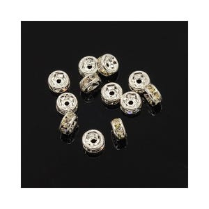 Silver Rhinestone Brass Rondelle Spacer Beads 2mm x 4mm Pack Of 10 HA15950