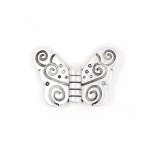 Antique Silver Tibetan Zinc Butterfly Beads 11mm x 15mm Pack Of 20 HA17010