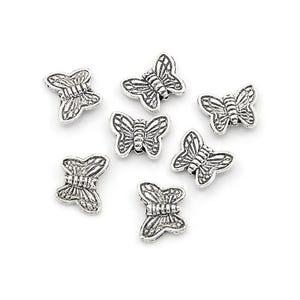 Antique Silver Tibetan Zinc Butterfly Beads 8mm x 10mm Pack Of 30 HA17030