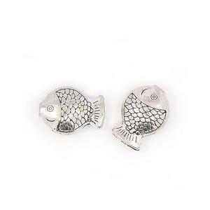 Antique Silver Tibetan Zinc Fish Beads 11mm x 14mm Pack Of 20 HA17645