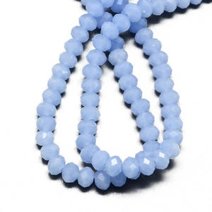 Pale Blue Opaque Czech Crystal Faceted Rondelle Beads 4mm x 6mm Strand Of 90+ Pieces HA20045