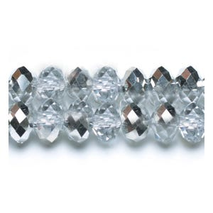 Clear/Silver Opaque Czech Crystal Faceted Rondelle Beads 4mm x 6mm Strand Of 90+ Pieces HA20180