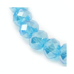 Cyan AB Czech Crystal Faceted Rondelle Beads 4mm x 6mm Strand Of 90+ Pieces HA20340