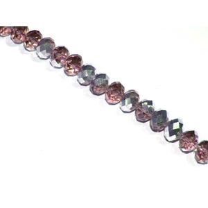 Dull Magenta/Silver Czech Crystal Faceted Rondelle Beads 6mm x 8mm Strand Of 65+ Pieces HA20345