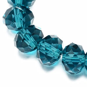 Teal Czech Crystal Faceted Rondelle Beads 6mm x 8mm Strand Of 65+ Pieces HA20365