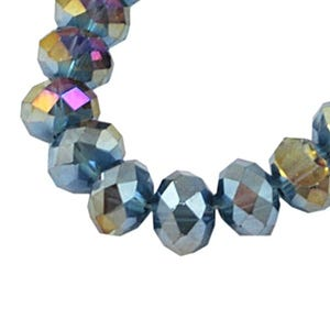 Pale Blue AB Czech Crystal Faceted Rondelle Beads 6mm x 8mm Strand Of 65+ Pieces HA20370
