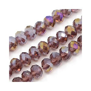 Dull Magenta AB Czech Crystal Faceted Rondelle Beads 6mm x 8mm Strand Of 65+ Pieces HA20410