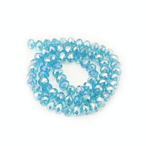 Cyan AB Czech Crystal Faceted Rondelle Beads 6mm x 8mm Strand Of 65+ Pieces HA20465