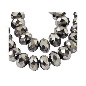 Silver Czech Crystal Faceted Rondelle Beads 6mm x 8mm Strand Of 65+ Pieces HA20490