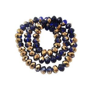 Blue/Gold Opaque Czech Crystal Faceted Rondelle Beads 4mm x 6mm Strand Of 90+ Pieces HA20495