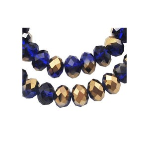 Dark Blue/Gold Czech Crystal Faceted Rondelle Beads 6mm x 8mm Strand Of 65+ Pieces HA20505