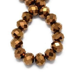 Copper Opaque Czech Crystal Faceted Rondelle Beads 6mm x 8mm Strand Of 65+ Pieces HA20565