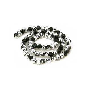 Black/Silver Czech Crystal Faceted Rondelle Beads 6mm x 8mm Strand Of 65+ Pieces HA20570