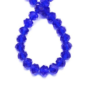 Dark Blue Czech Crystal Faceted Rondelle Beads 4mm x 6mm Strand Of 90+ Pieces HA20595