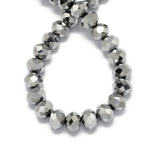 Silver Czech Crystal Faceted Rondelle Beads 4mm x 6mm Strand Of 90+ Pieces HA20600