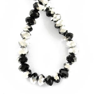 Black/Silver Czech Crystal Faceted Rondelle Beads 4mm x 6mm Strand Of 90+ Pieces HA20650