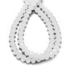 White Opaque Czech Crystal Faceted Rondelle Beads 4mm x 6mm Strand Of 90+ Pieces HA20745