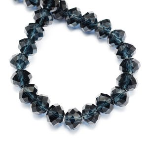 Indigo Czech Crystal Faceted Rondelle Beads 4mm x 6mm Strand Of 90+ Pieces HA20835
