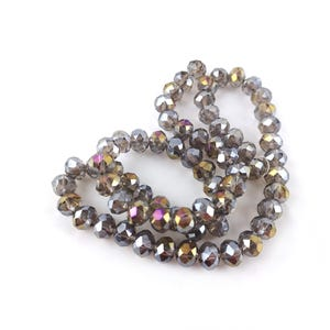Grey AB Czech Crystal Faceted Rondelle Beads 6mm x 8mm Strand Of 65+ Pieces HA20855
