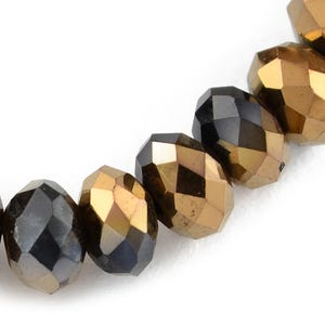 Black/Copper Czech Crystal Faceted Rondelle Beads 6mm x 8mm Strand Of 65+ Pieces HA21050