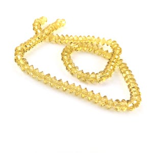 Yellow/Gold Czech Crystal Faceted Saucer Beads 3.5 x 6mm Strand Of 95+ Pieces HA21060