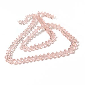 Pale Pink Czech Crystal Faceted Saucer Beads 3.5 x 6mm Strand Of 95+ Pieces HA21070