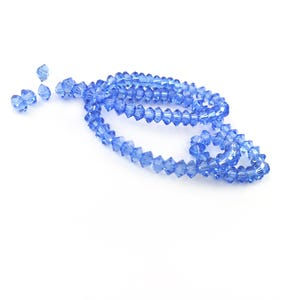 Blue Czech Crystal Faceted Saucer Beads 3.5 x 6mm Strand Of 95+ Pieces HA21075