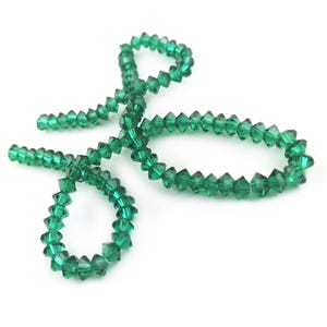 Dark Green Czech Crystal Faceted Saucer Beads 3.5 x 6mm Strand Of 95+ Pieces HA21080