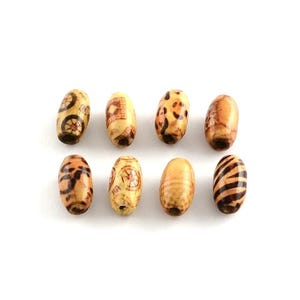 Brown/Mixed-Colour Wood Oval Beads 8mm x 15mm Pack Of 50+ HA23000