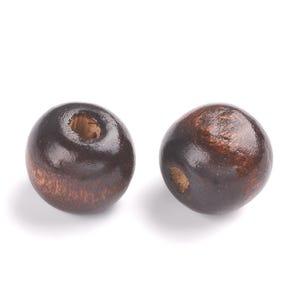 Dark Brown Wood Plain Round Beads 10mm Pack Of 100+ HA23040