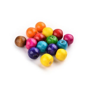 Mixed-Colour Wood Plain Round Beads 10mm Pack Of 100+ HA23110