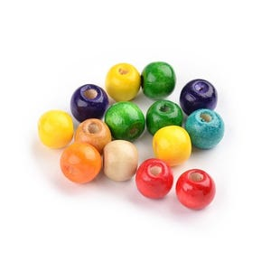 Mixed-Colour Wood Plain Round Beads 14mm Pack Of 50+ HA23120