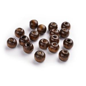 Dark Brown Wood Plain Round Beads 10mm Pack Of 100+ HA23160
