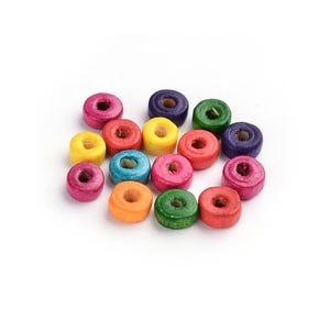 Mixed-Colour Wood Plain Rondelle Beads 3mm x 8mm Pack Of 300+ HA23275