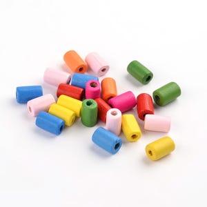 Mixed-Colour Wood Plain Tube Beads 7mm x 10mm Pack Of 150+ HA23315