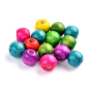 Mixed-Colour Wood Plain Round Beads 13mm Pack Of 50+ HA23335