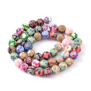 Mixed-Colour Polymer Clay Plain Round Beads 8mm Strand Of 45+ Pieces HA24025