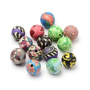 Mixed-Colour Polymer Clay Plain Round Beads 12mm Pack Of 20 HA24075