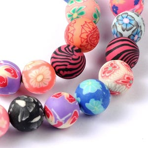 Mixed-Colour Polymer Clay Plain Round Beads 10mm Strand Of 35+ Pieces HA24135