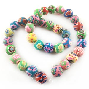 Mixed-Colour Polymer Clay Plain Round Beads 12mm Strand Of 30+ Pieces HA24180