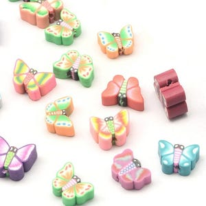 Mixed-Colour Polymer Clay Butterfly Beads 7mm x 10mm Pack Of 30 HA24195