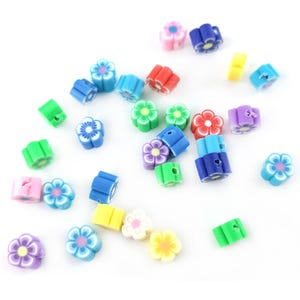 Mixed-Colour Polymer Clay Flower Beads 4mm x 6mm Pack Of 30 HA24200